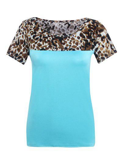 Round Neck Short Sleeve Spliced Leopard Print T-Shirt - BLUE S