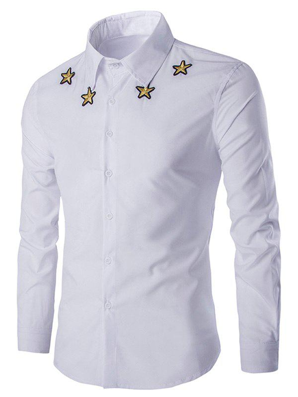 Simple Star Embroidered Men's Long Sleeves Shirt - WHITE 2XL