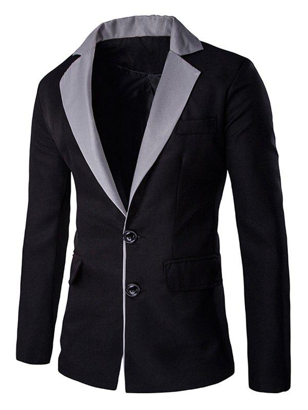 Color Splicing Breasted Pocket Lapal Men's Long Sleeve Blazer