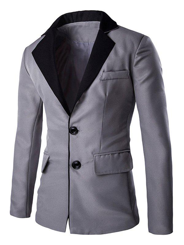Couleur Splicing breasted Pocket Lapal Men 's manches longues Blazer - [