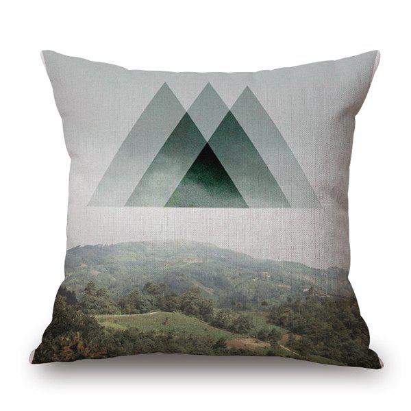 Exquisite Nature Landscape Tree Mountain Pattern Sofa Pillow Case - BLACKISH GREEN