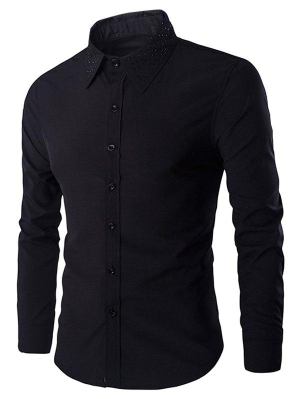 Rivets Embellished Men's Turn-down Collar Long Sleeves Shirt - BLACK 2XL