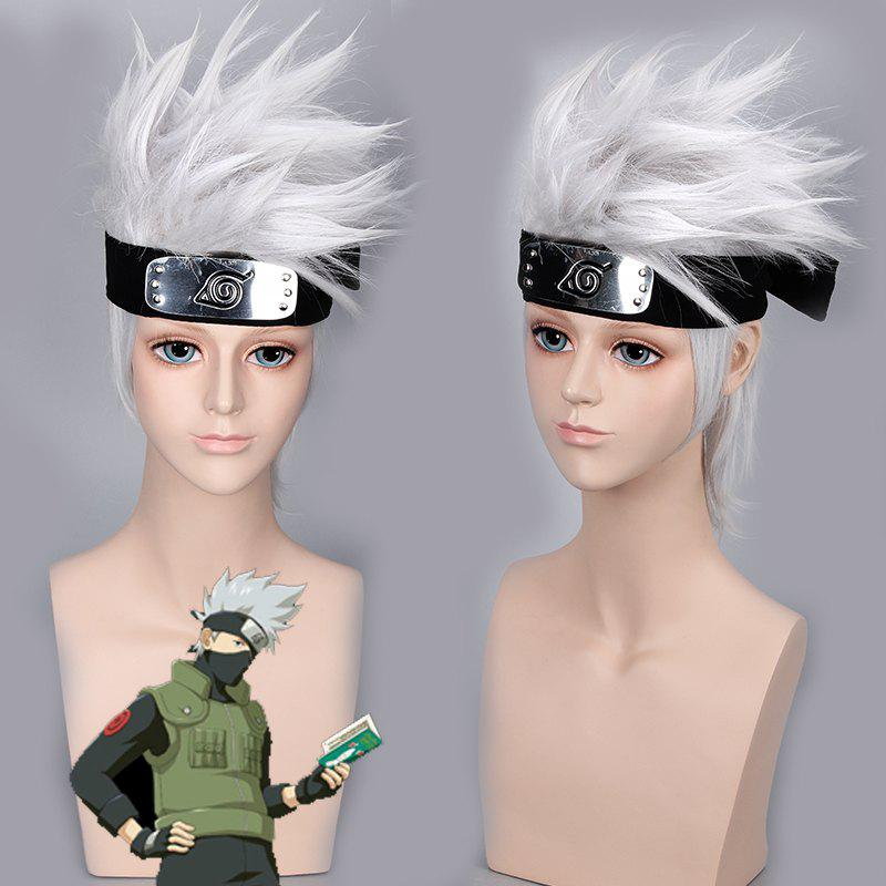 Fashion Short Synthetic Naruto Hatake Kakashi Silver White Cosplay Wig - SILVER WHITE