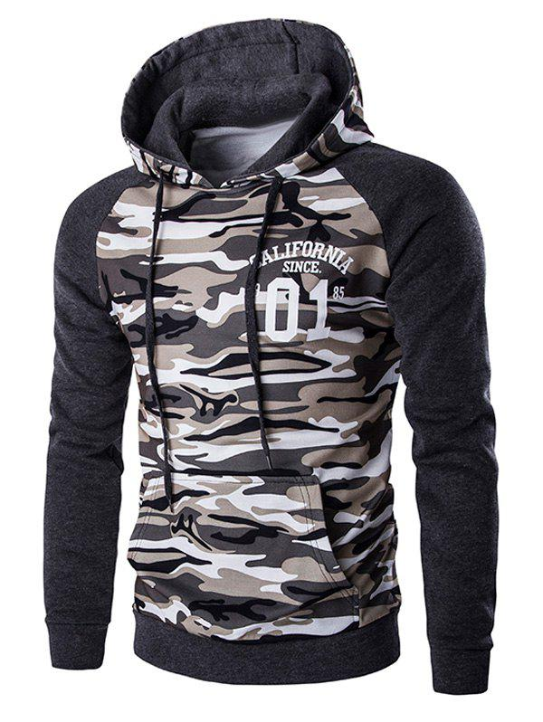 Kangaroo Pocket Camo Men's Long Sleeve Hoodie - DEEP GRAY XL