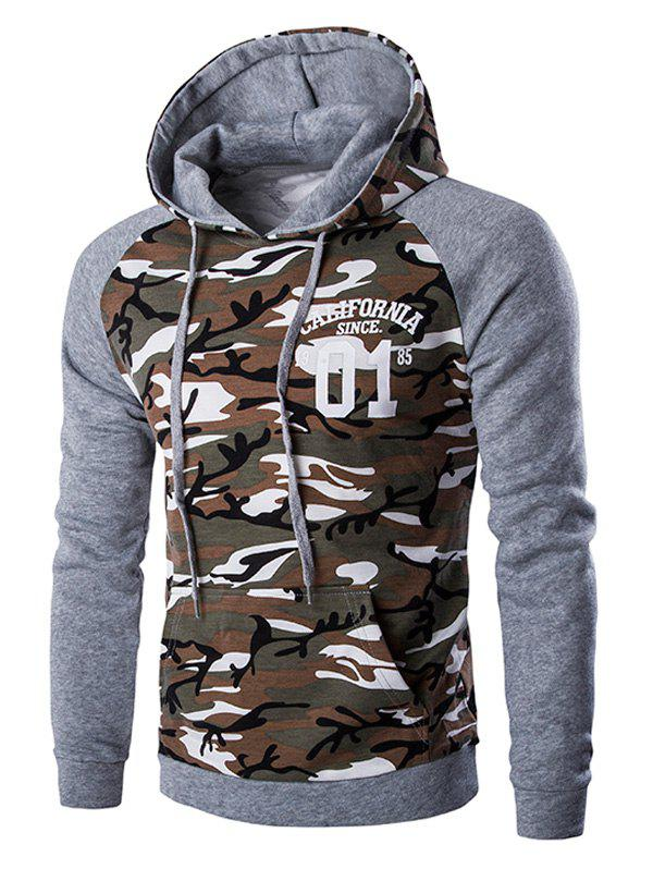 Kangaroo Pocket Camo Men's Long Sleeve Hoodie - LIGHT GRAY XL