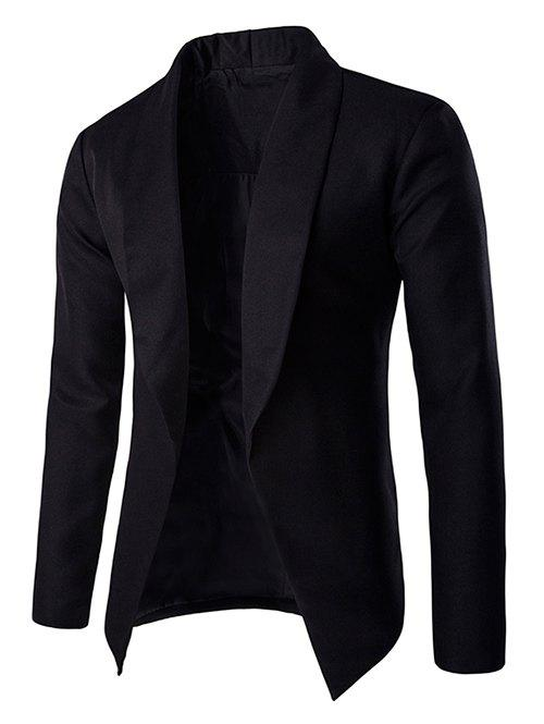Fashionable Lapel Collar Buttonless Long Sleeves Blazer For Men - BLACK XL
