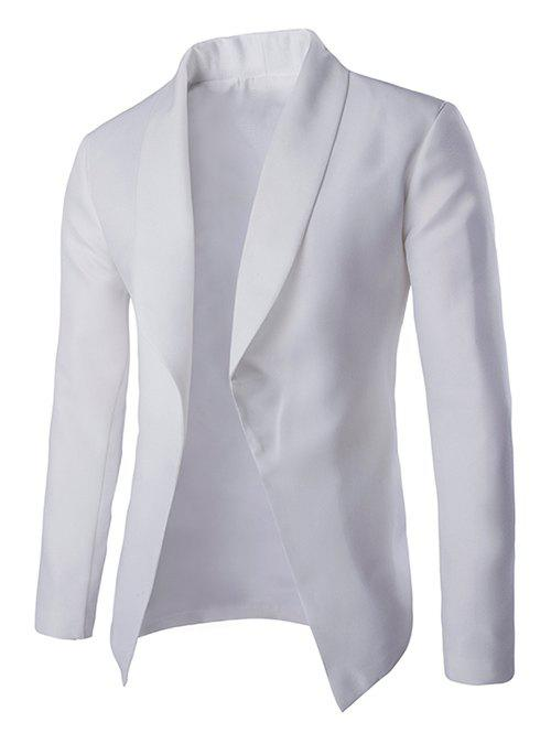 Fashionable Lapel Collar Buttonless Long Sleeves Blazer For MenMen<br><br><br>Size: XL<br>Color: WHITE