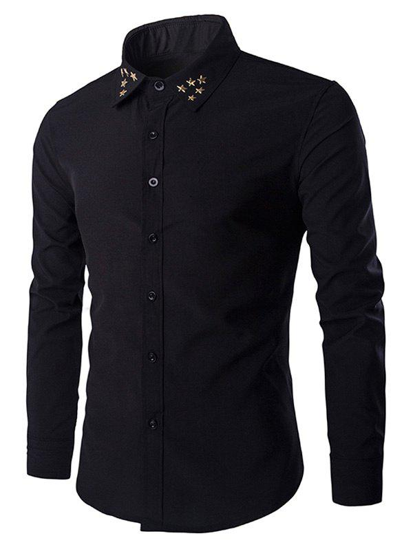 Gloden Star Rivets Design Men's Shirt Collar Long Sleeves Shirt - BLACK M