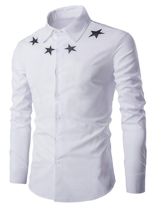 Star Pattern Solid Color Men's Long Sleeves Shirt - WHITE 2XL