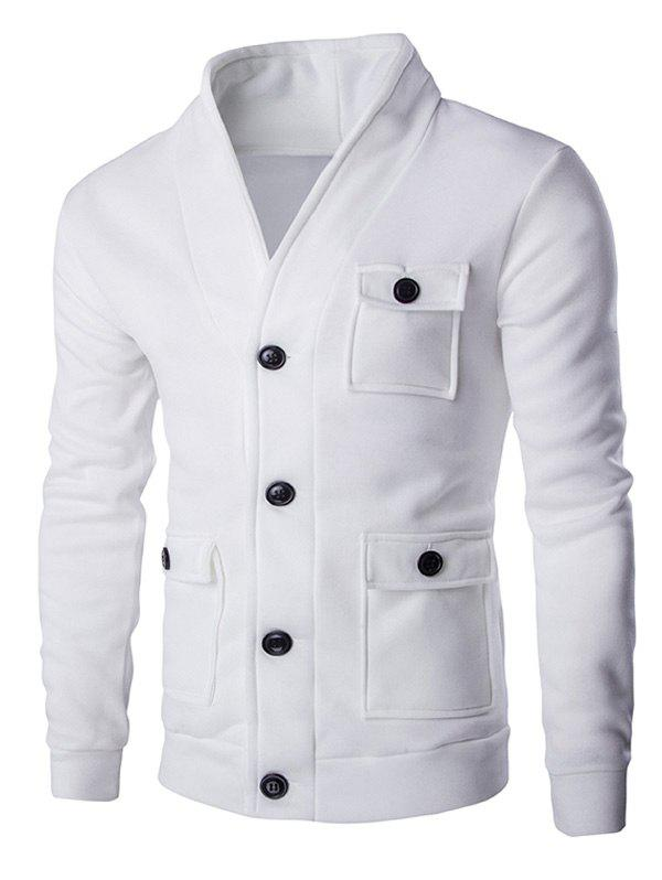 Solid Color Button Up Patch Pockets Men's Long Sleeve Jacket