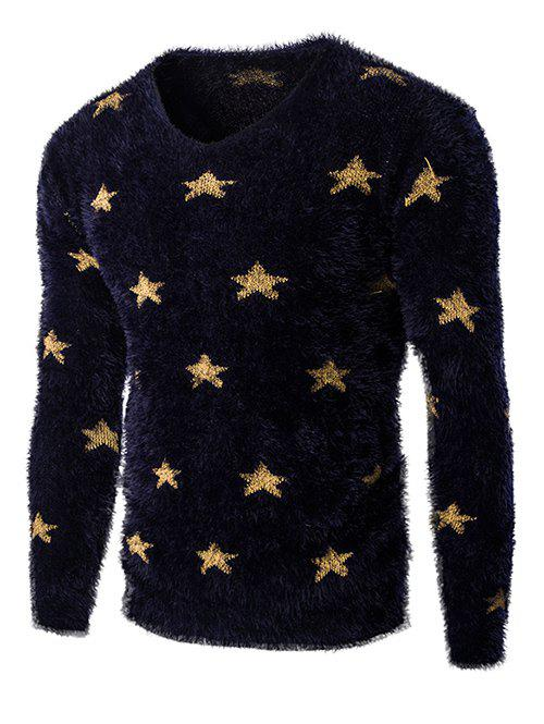 Fashionable V-Neck Long Sleeve Stars Mohair Sweater For Men - CADETBLUE 2XL