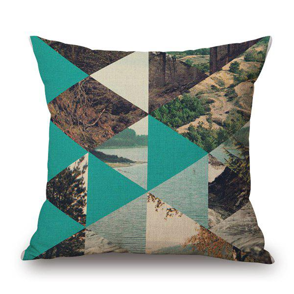 Graceful Geometrical Landscape Lake Tree Jigsaw Pattern Pillow Case - GREEN