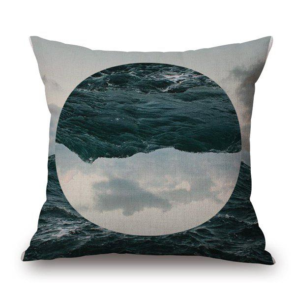 High Quality Nature Landscape Oval Lake Sky Jigsaw Pattern Pillow Case - CADETBLUE / WHITE