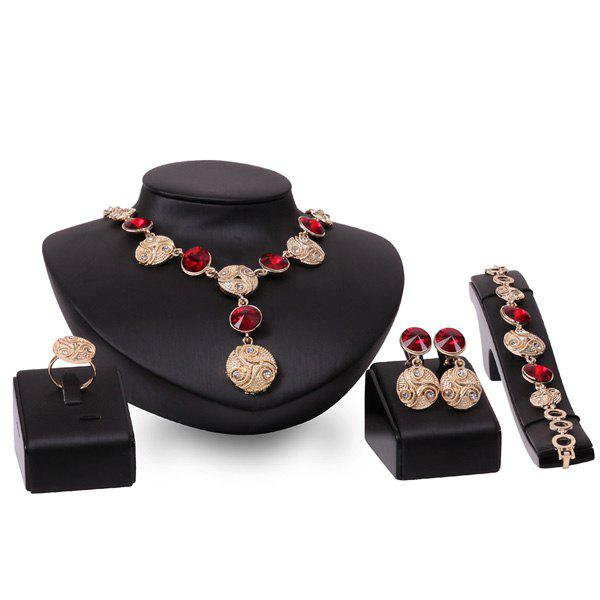 Faux Gem Emboss Alloy Coin Circle Necklace Set - DARK RED