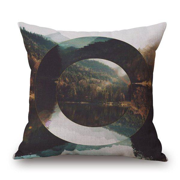 Stylish Nature Landscape Hollow Oval Jigsaw Pattern Pillow Case - COLORMIX