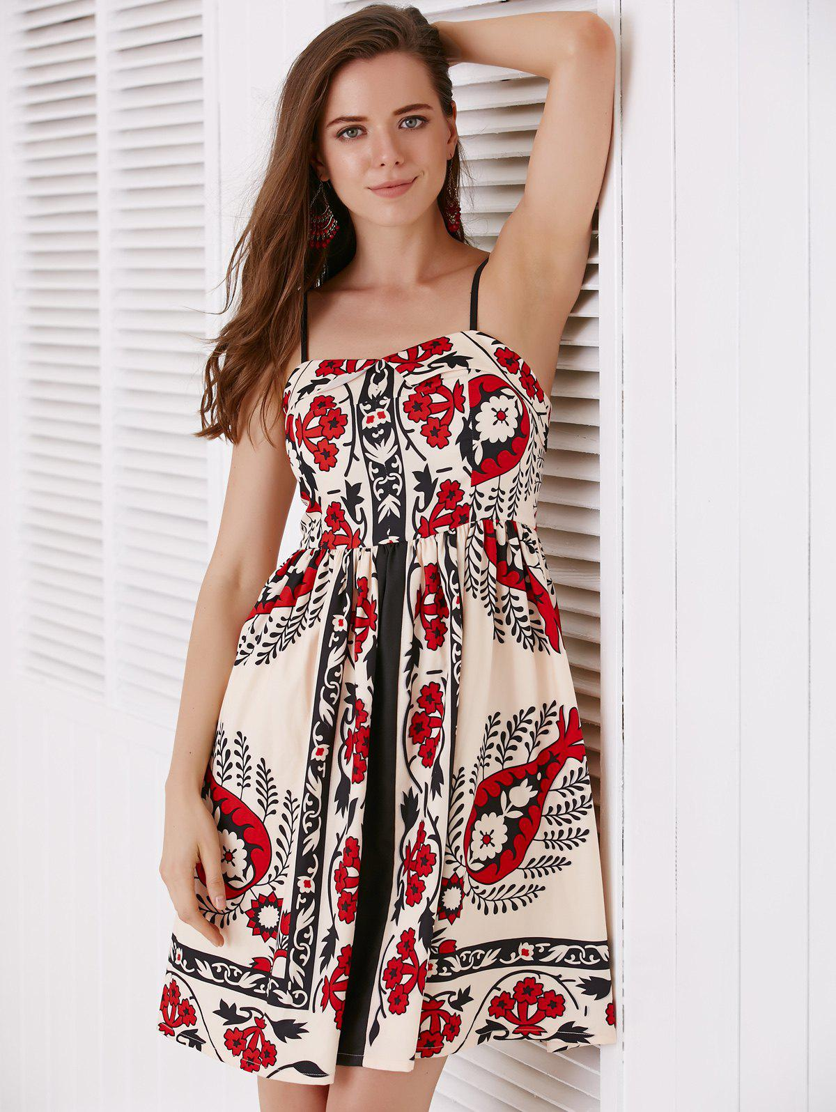 Ethnic Style Spaghetti Strap Print A-Line Dress For Women - COLORMIX L