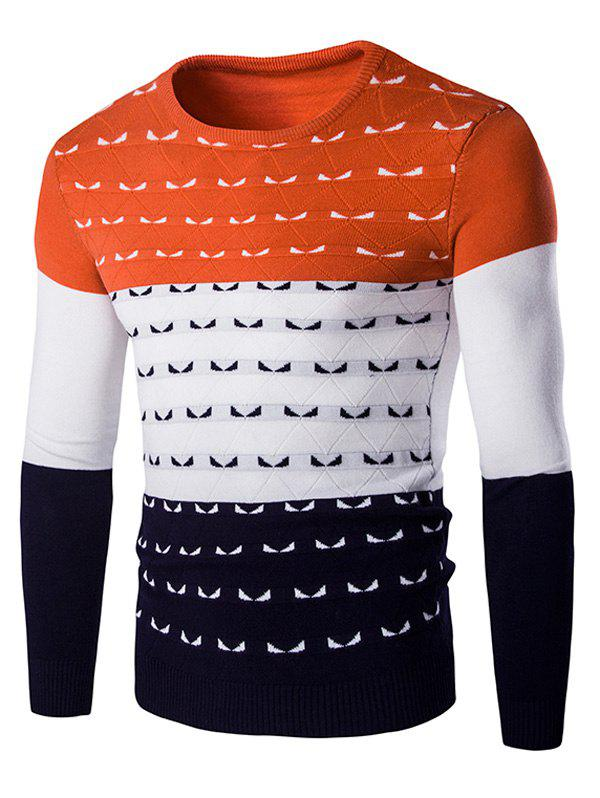 Color Spliced Round Neck Long Sleeve Men's Pullover Knitwear - ORANGE 2XL