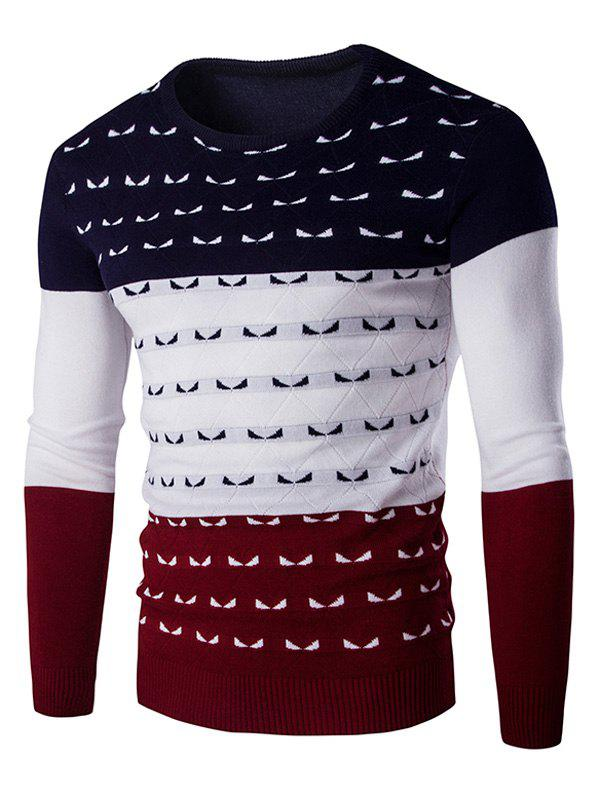 Couleur Spliced ​​col rond manches longues hommes s 'Pull Tricots - Rouge vineux 2XL