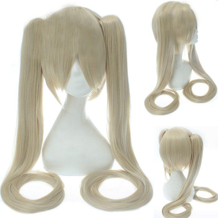 Stylish Long Rice White Straight with Bunches Synthetic Twintail Hatsune Miku Cosplay Wig - OFF WHITE