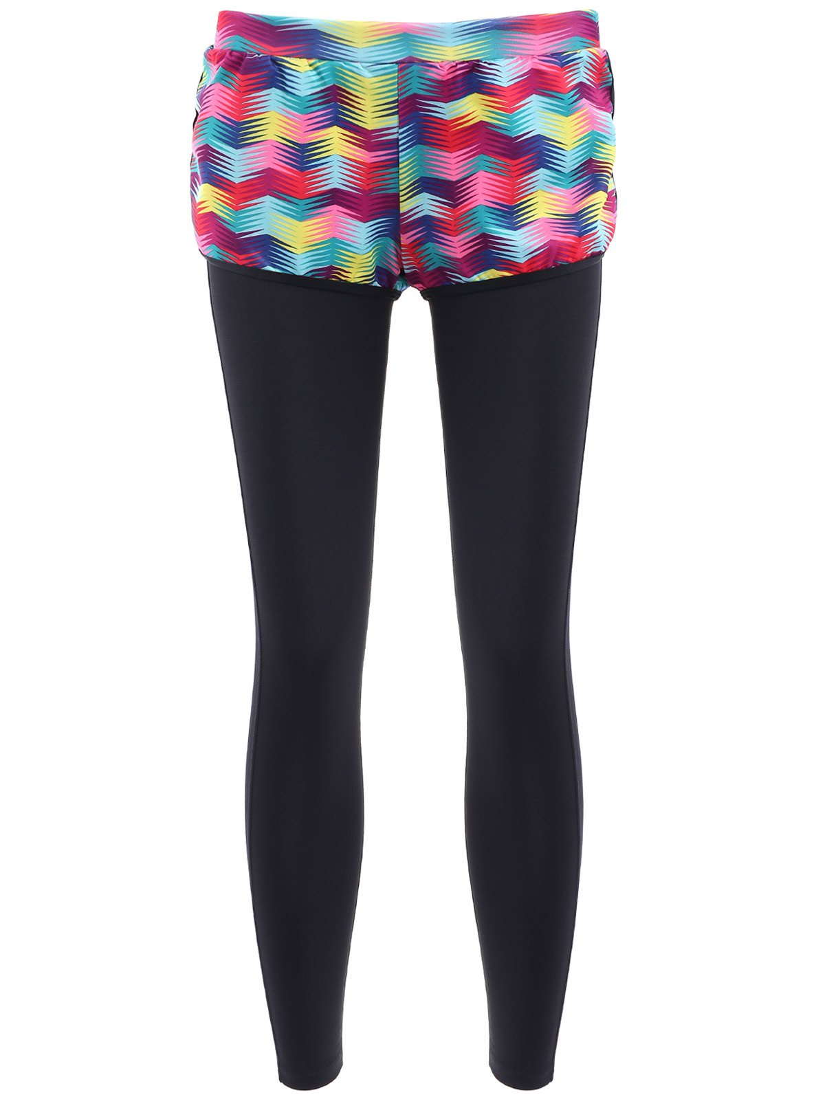 Stylish Faux Twinset High-Waisted Printed Women's Yoga Pants