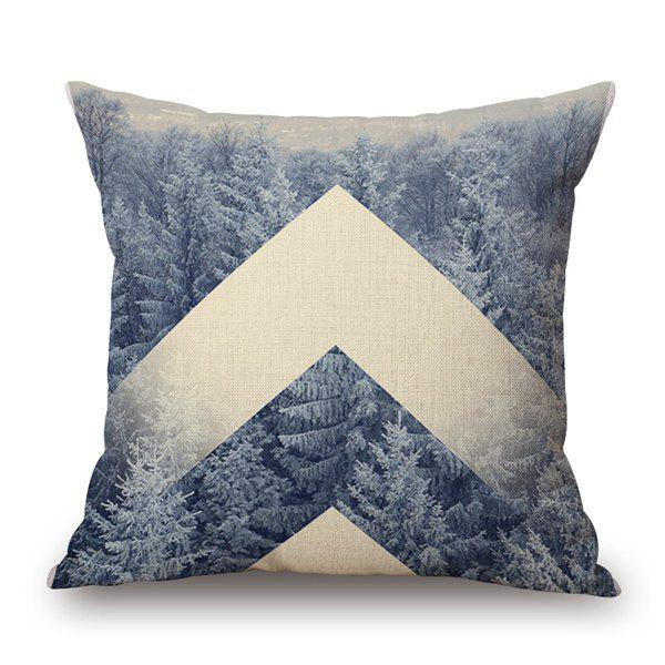 Stylish Nature Tree Forest Snow Winter Pattern Pillow Case - WHITE GREY