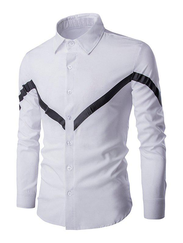 Triangle Pattern Men's Turn-down Collar Long Sleeves Shirt - WHITE L