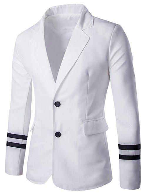 Stripe Cuffs Design Lapel Collar Long Sleeves Blazer For Men - WHITE XL