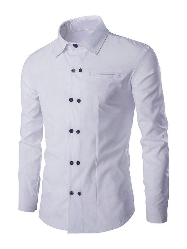 Double-Breasted Solid Color Men's Shirt Collar Long Sleeves Shirt - WHITE 2XL