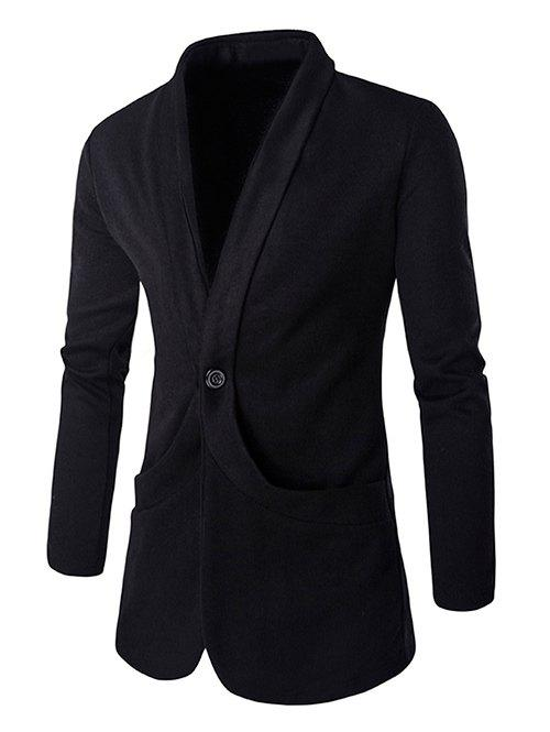 Chic Collar Design Single Button Openning Long Sleeves Knitted Blazer For Men - BLACK L