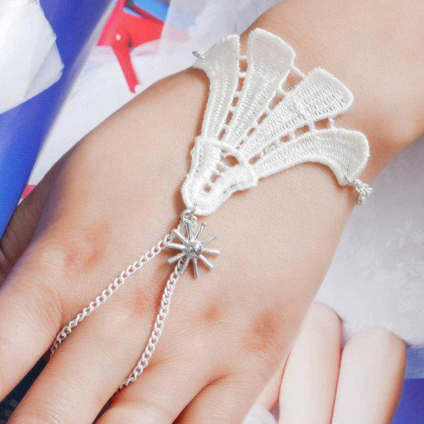 Hollow Out Floral Bracelet With Ring - WHITE