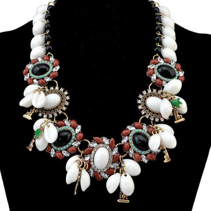 Faux Turquoise Geometric Rhinestone Necklace - WHITE
