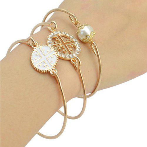 Faux Pearl Multilayered Cut Out Rhinestone Emboss Bracelet - GOLDEN