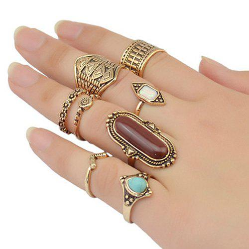 Vintage Oval Faux Turquoise Emboss Alloy Geomrtric Ring Set For Women - GOLDEN