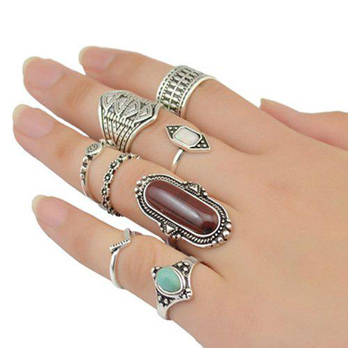 Vintage Oval Faux Turquoise Emboss Alloy Geomrtric Ring Set For Women - SILVER