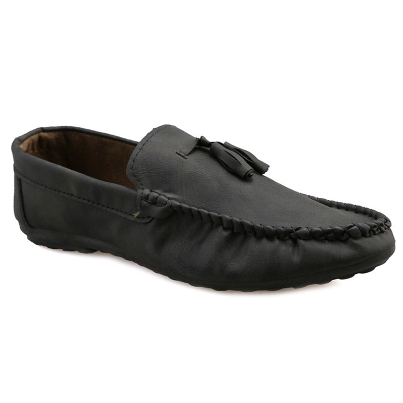 Stylish Stitching and Tassels Design Men's Casual Shoes - BLACK 43