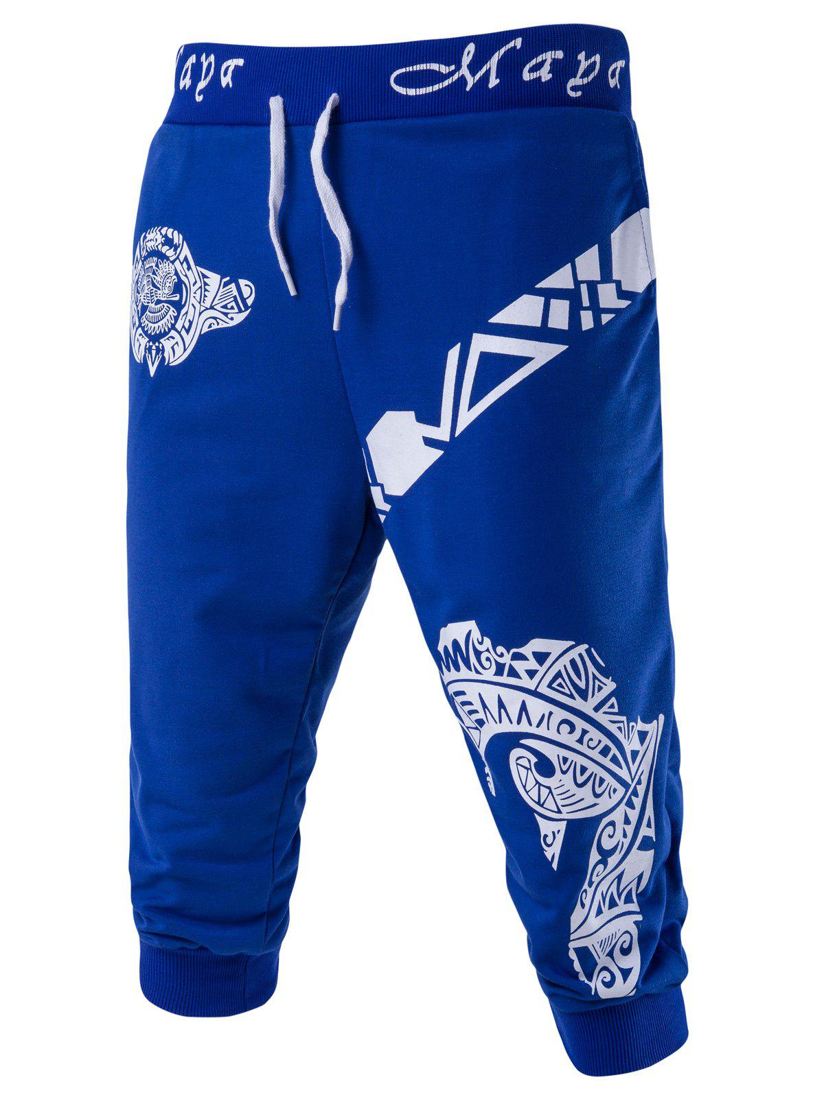 Men's Abstract Printed Solid Color Lace-Up Shorts - BLUE M