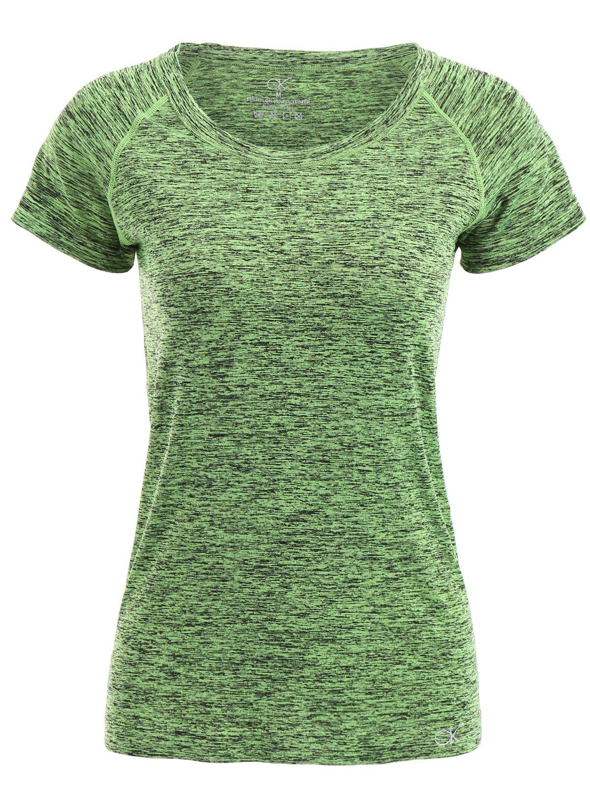 Trendy Jewel Neck Candy Color Short Sleeve Sport T-Shirt For Women - GREEN M