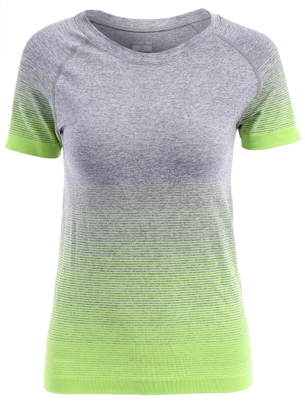 Trendy Jewel Neck Gradient Color Short Sleeve Sport T-Shirt For Women - APPLE GREEN L