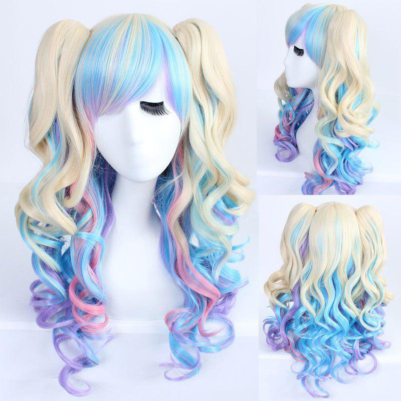 Faddish Long Wavy Side Bang with Bunches Mixed Color Lolita Synthetic Wig