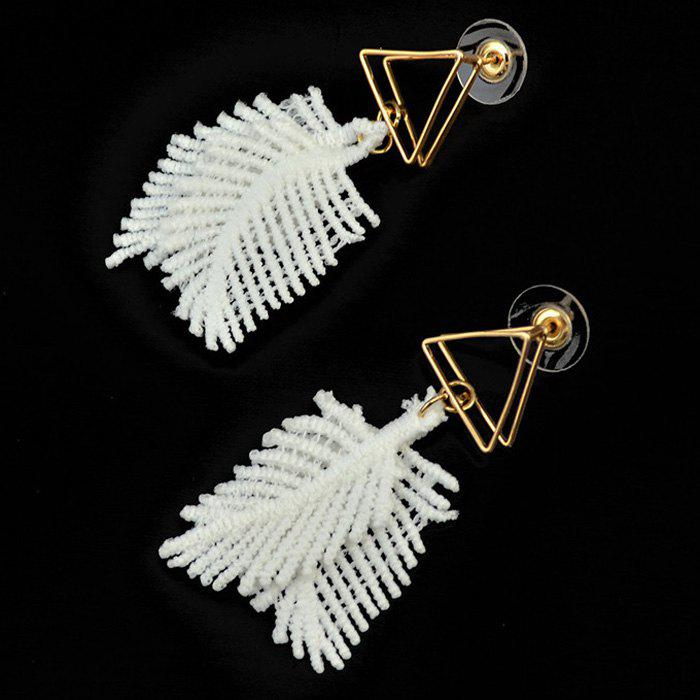 Pair of Feather Shape Triangle Cut Out Earrings - WHITE