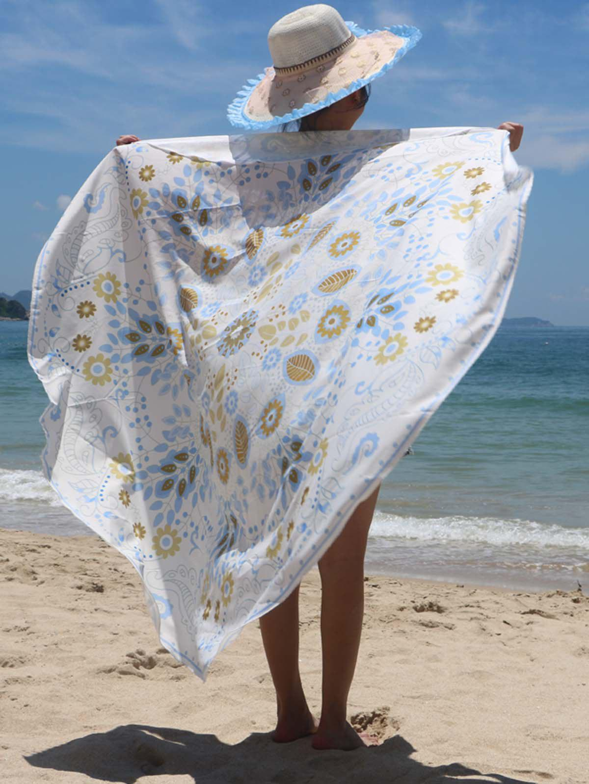 Ethnic Leaves and Floral Print Women's Beach Throw - WHITE ONE SIZE(FIT SIZE XS TO M)