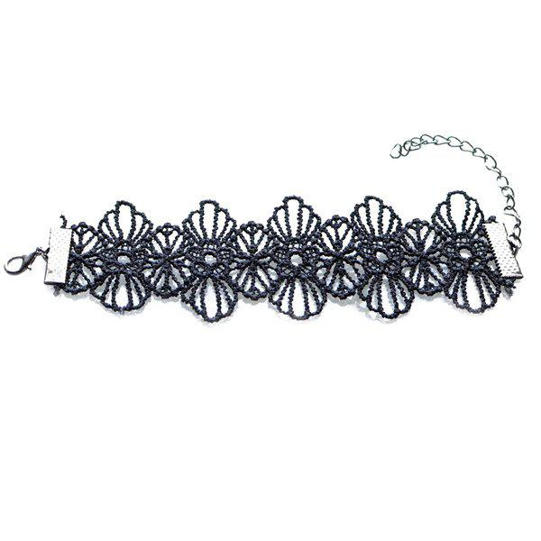 Hollow Out Woven Blossom Bracelet - BLACK