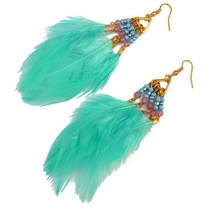 Pair of Beads Feather Dangle Earrings - MINT GREEN