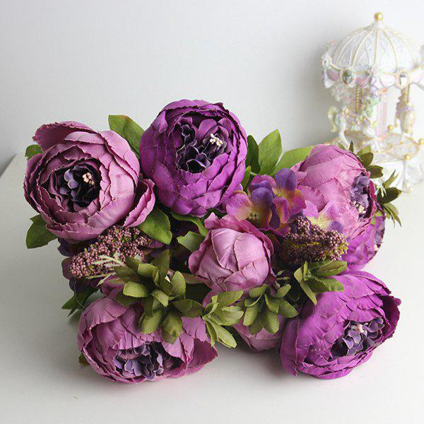 Stylish A Bouquet of Living Room Decoration Artificial Peony - PURPLE