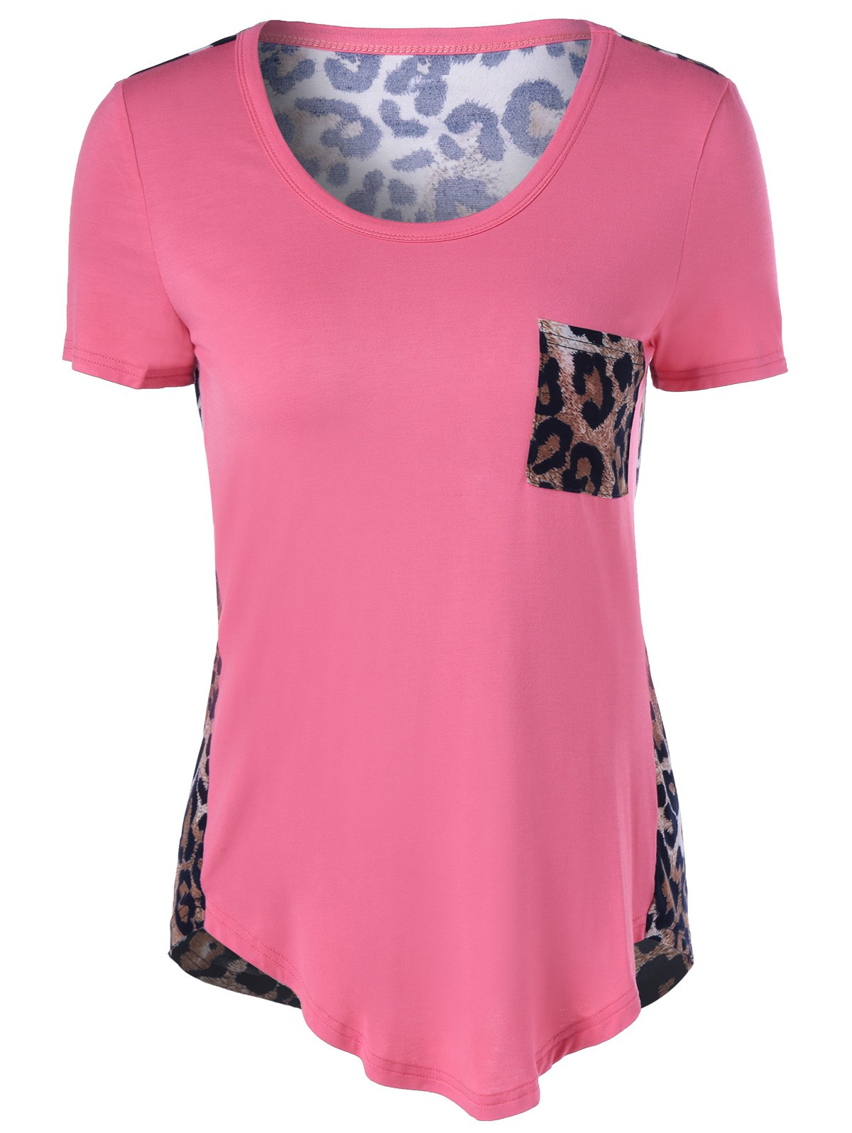 Short Sleeves U-Neck Leopard T-Shirt - LIGHT PINK XL