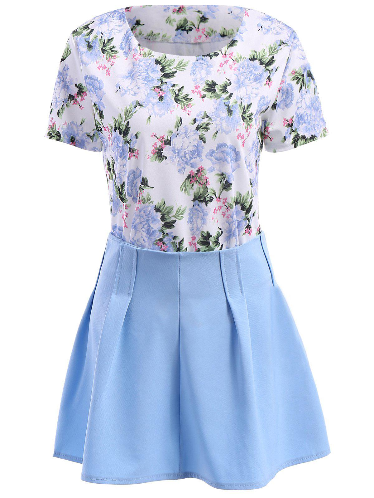 Stylish Floral Print Short Sleeve T-Shirt + Mini Skirt Twinset For Women - LIGHT BLUE S