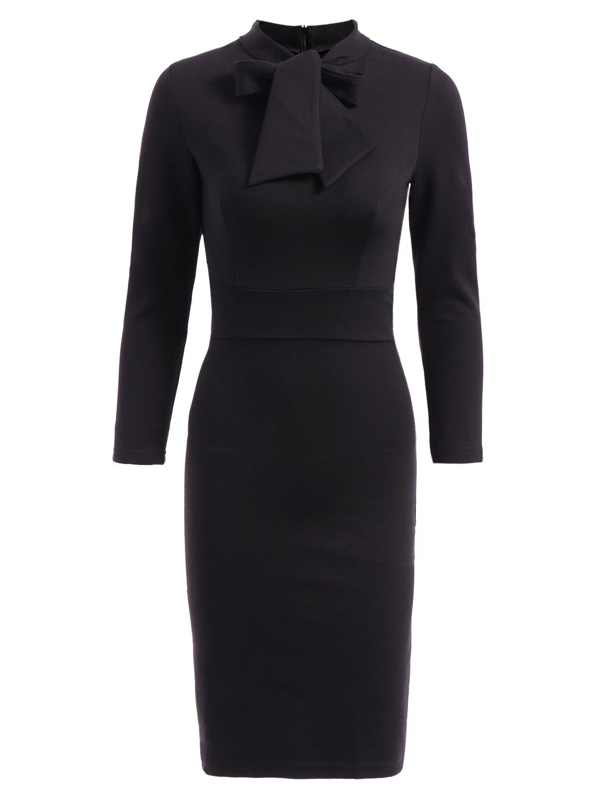 OL StylePure Color  3/4 Sleeve Bodycon Dress For Women - BLACK S