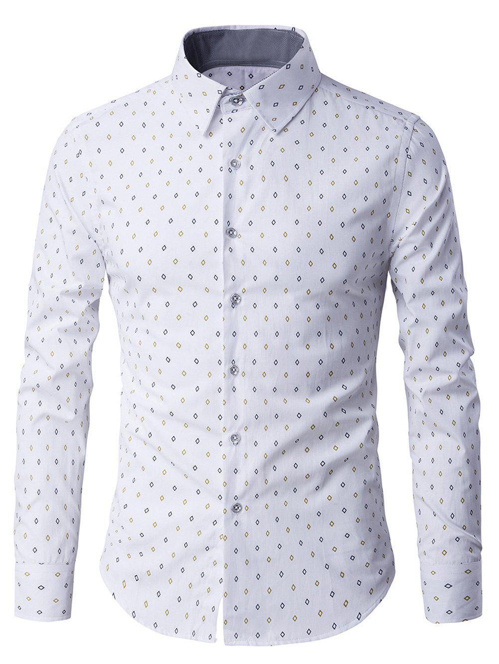 Geometric Print Turn Down Collar Long Sleeve Men's Shirt - WHITE M