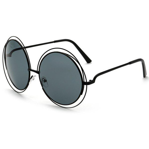 Chic Women's Hollow Out Black Round Sunglasses - BLACK