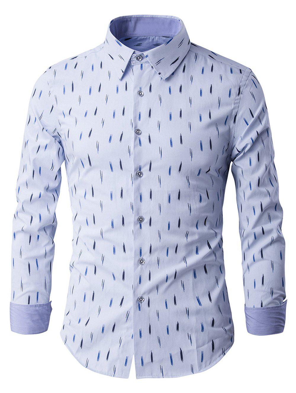 Line Print Turn Down Collar Long Sleeve Men's Shirt - LIGHT BLUE XL